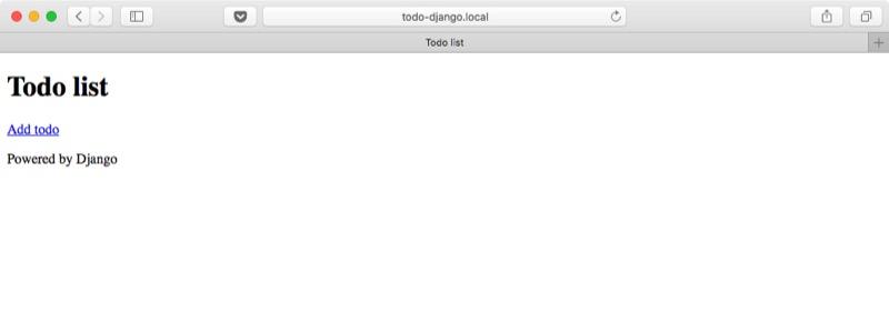 Aplicación web Django lista de tareas vacia