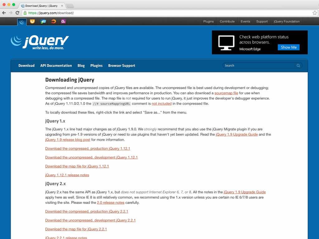 Página de descargas de jQuery