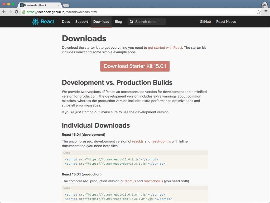 Página de descargas de React.js