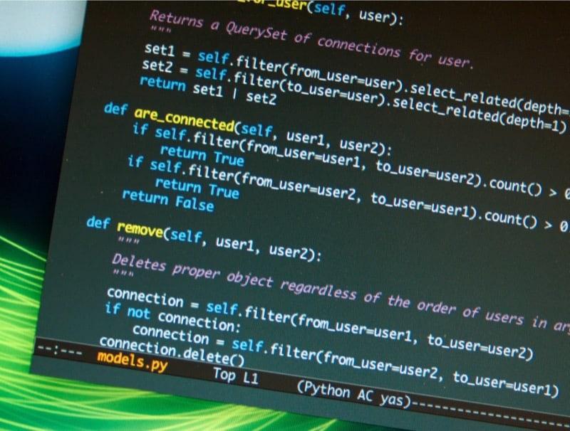 Pantallazo código fuente Python Django