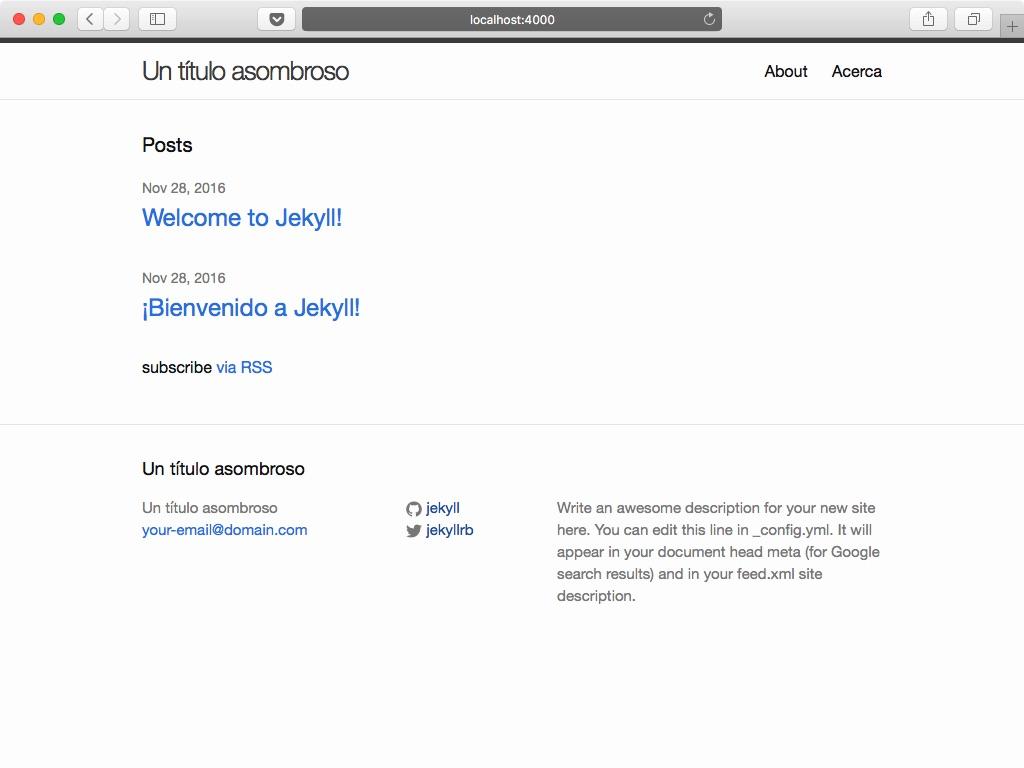 Sitio web estático Jekyll